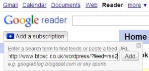 Using Goodle Reader to view the BTOSC RSS Feed - Add the BTOSC Feed